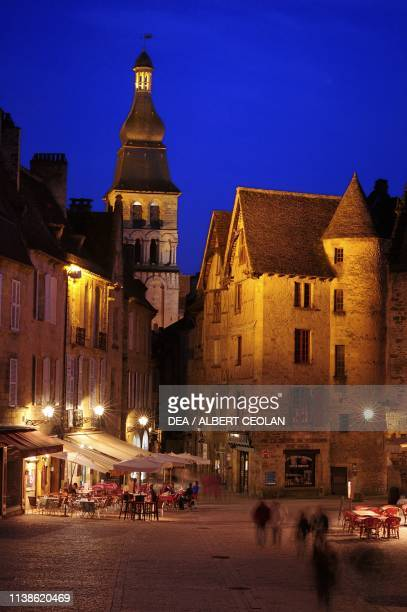 Night view of the bell tower of SaintSacerdos Cathedral SarlatlaCaneda New Aquitaine France 17th century