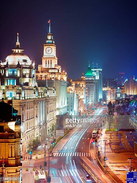 a night view of the bund - the bund stock photos and pictures