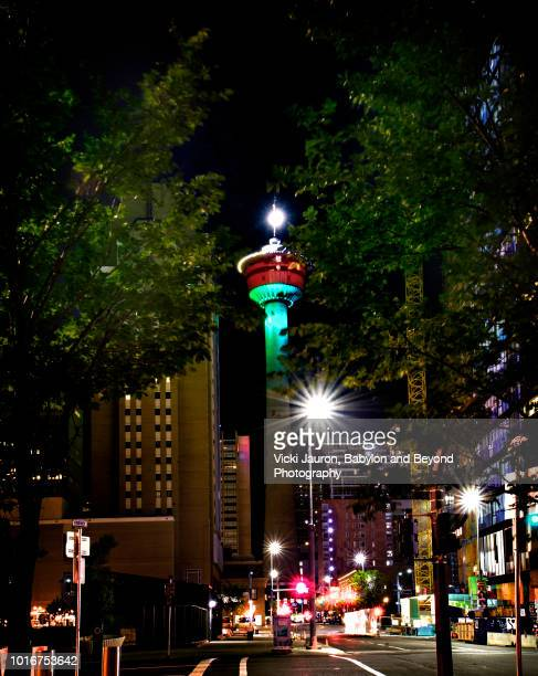 Night View of the Calgary Tower and Centre Street in Calgary, Canada