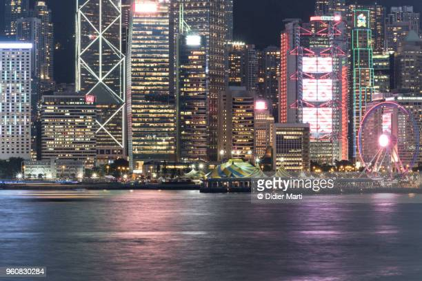 Night view of the Central business district in Hong Kong island