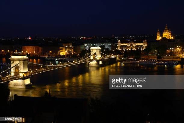 Night view of the Chain Bridge Budapest Hungary 19th century