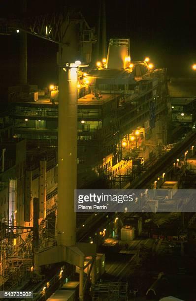 Night view of the Chantiers de l'Atlantique naval shipyards at Saint Nazaire