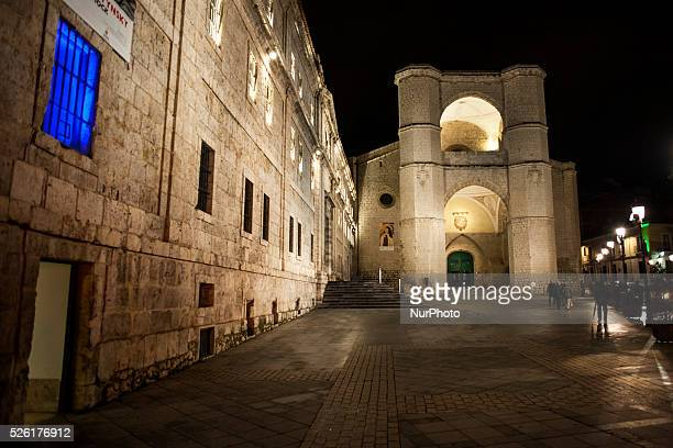 Night view of the church of San Benito el Real was built from 1499 to 1515 according to plans by Juan de Arandia and Garc��a de Olave It is entirely...