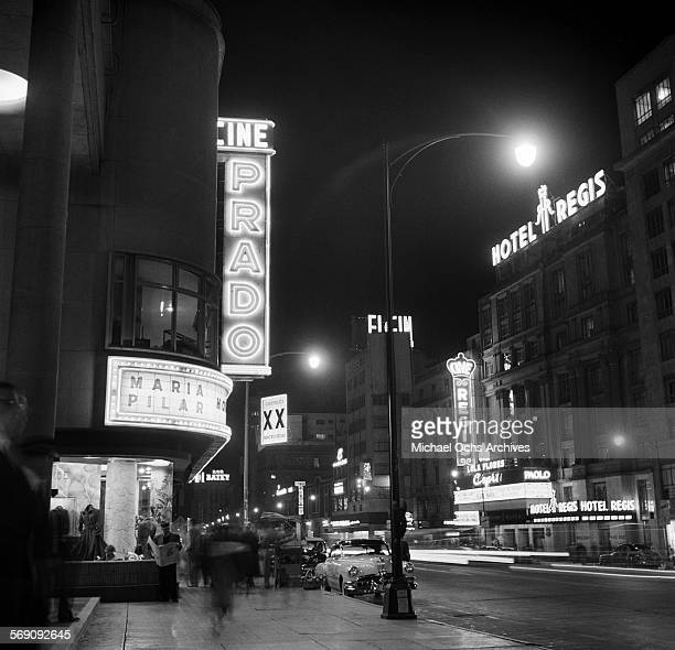 A night view of the Cine Prado and Hotel Regis in downtown Mexico City Mexico