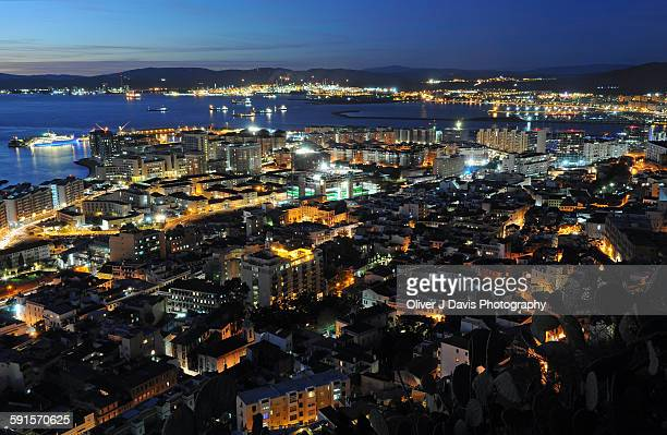 Night view of the city of Gibraltar from the Rock