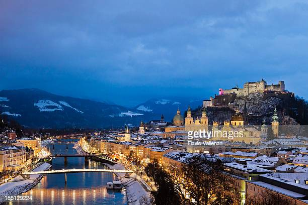 Night view of the city of Salzburg in Austria