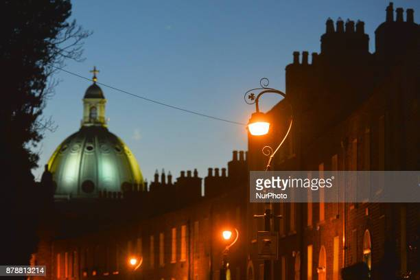 A night view of the cupula of Church Of Mary Immaculate Refuge of Sinners in Rathmines In Dublin Ireland on Friday 24 November 2017