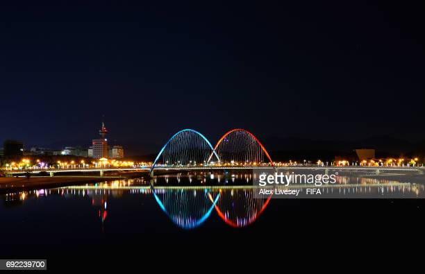 A night view of the Daejeon Expo Bridge is seen during the FIFA U20 World Cup on June 4 2017 in Daejeon South Korea
