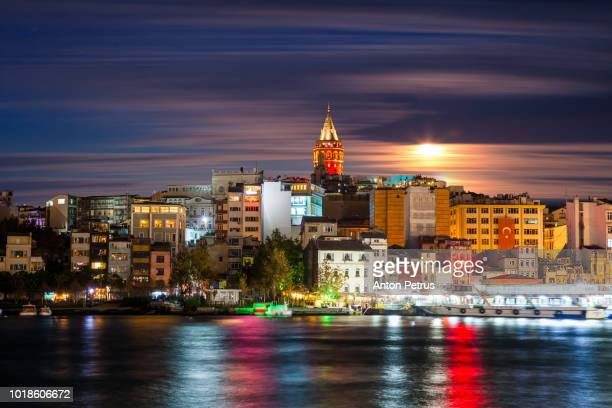 Night view of the Galata Tower, Istanbul