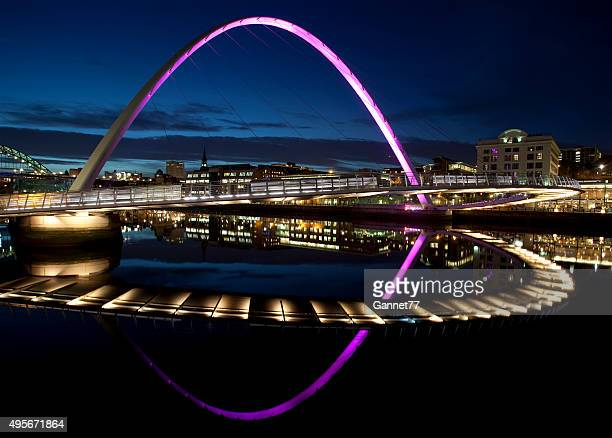 Night View of the Gateshead Millennium Bridge