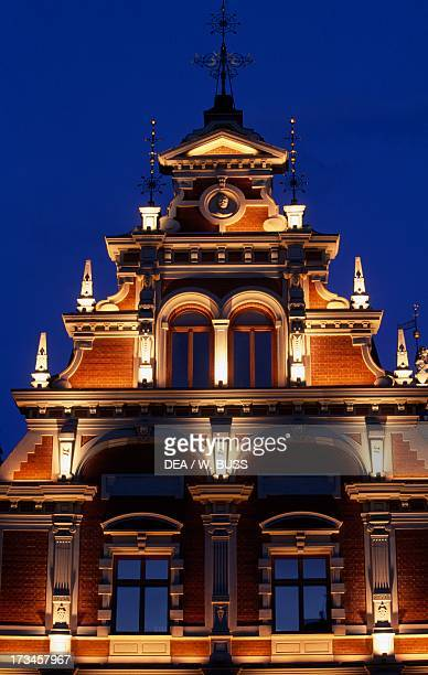 Night View of the House of the Blackheads historic centre of Riga Latvia