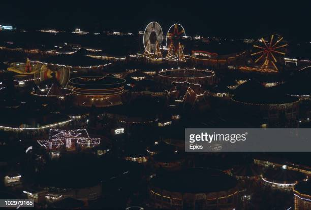 A night view of the huge funfair held in Nottingham for three days every October October 1969 It has its origins in in the principal hiring fair and...