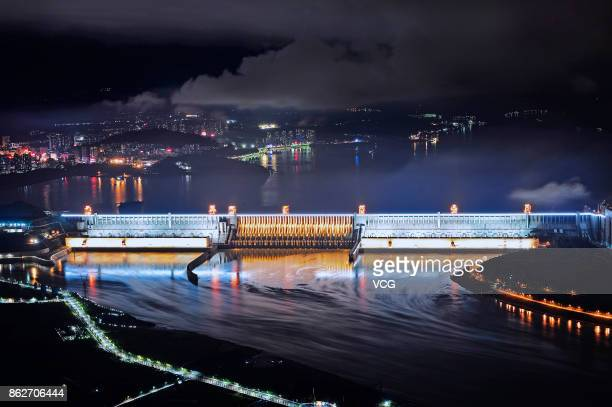 A night view of the illuminated Three Gorges Dam on October 17 2017 in Yichang Hubei Province of China Various lamps were installed at Three Gorges...