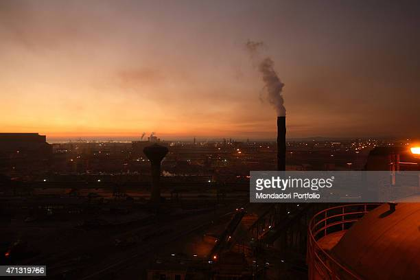 Night view of the Ilva iron and steel plant in Taranto directed by him during a photo shooting Taranto Italy 14th November 2006
