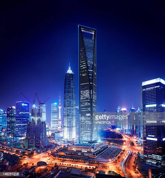 A night view of the Jin Mao Tower and the Shanghai