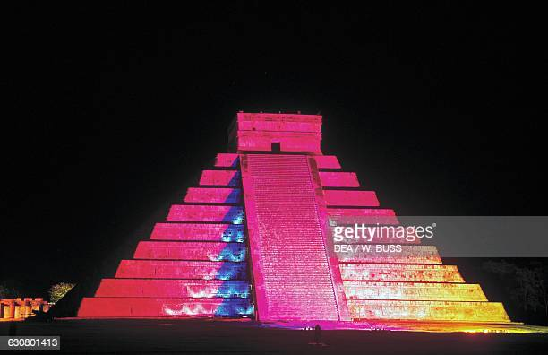 Night view of the Kukulkan pyramid also known as The Castle Chichen Itza Yucatan Mexico Mayan civilisation 11th13th century