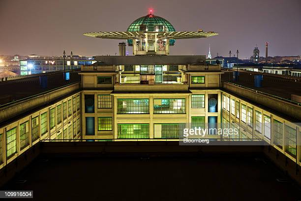 A night view of the Lingotto building with the bubble conference centre is seen at the former Fiat SpA plant in Turin Italy on Tuesday March 8 2011...