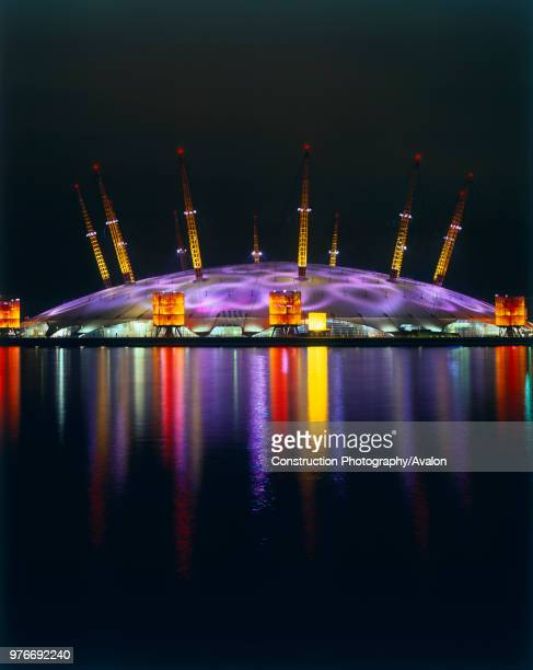 Night view of the Millennium Dome Greenwich East London UK.