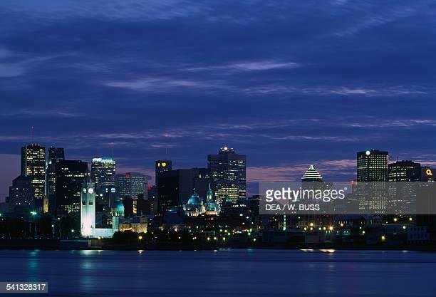 Night view of the Montreal skyline from Ile SainteHelene Quebec Canada