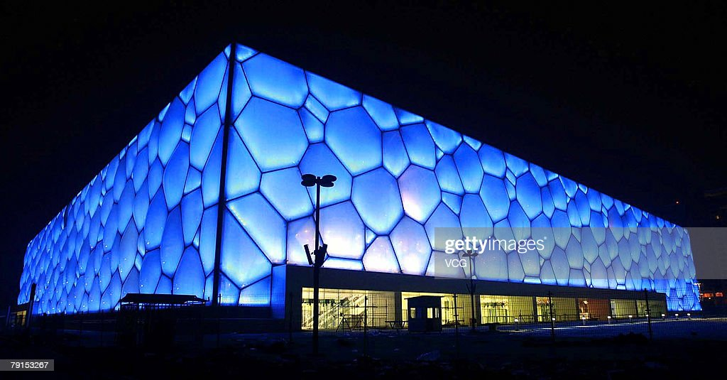 A night view of the National Aquatic Center, known as the Water Cube, as it is lit up on January 21, 2008 in Beijing, China. The venue can hold 17,000 people and will play host to the Swimming, Diving and Synchronized Swimming Olympic events later this year.