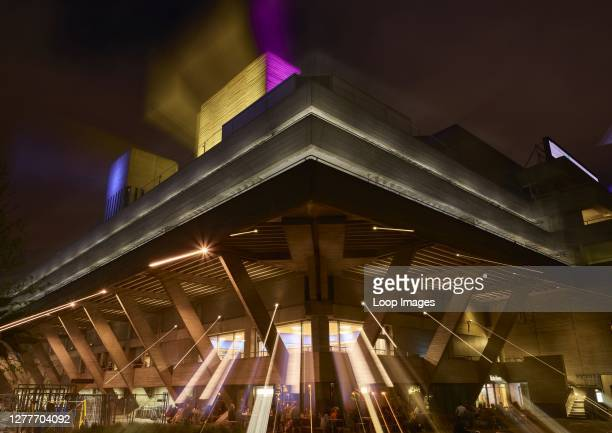 Night view of the National Theatre on the South Bank in London.