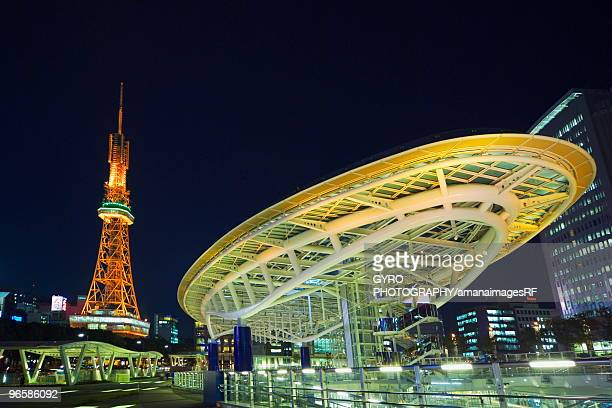 Night view of the Oasis 21 and the Nagoya television tower in Nagoya, Aichi Prefecture, Japan