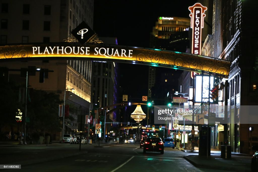 Night View Of The Outdoor Chandelier At Playhouse Square Performing Arts District Cleveland Ohio Usa