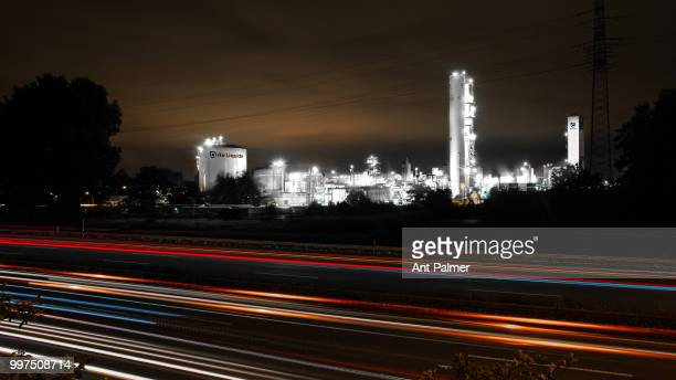 Night view of the OXEA Chemical plant with the A3 Autobahn in foreground on July 10 2018 in Oberhausen Germany