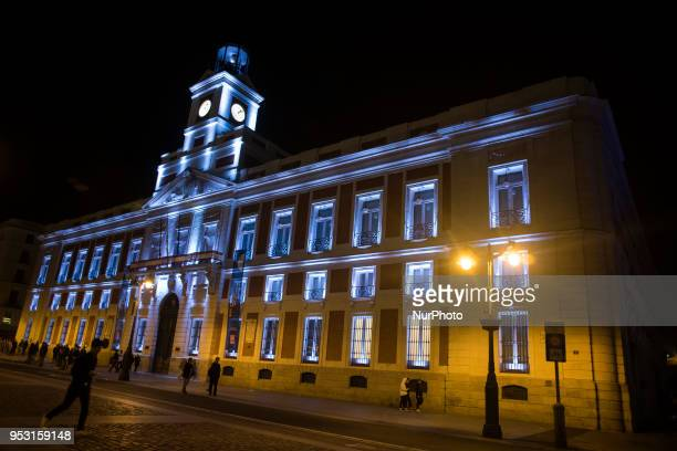 Night view of the post office building in Puerta del Sol in Madrid Spain on 29 April 2018 On weekends the city of Madrid offers a wide variety of...