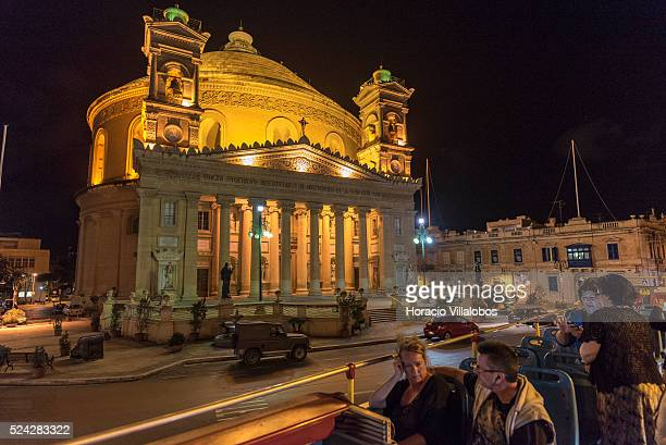 Night view of the Rotunda of Mosta Malta 21 October 2015 The Church of the Assumption of Our Lady commonly known as the Rotunda of Mosta or Rotunda...