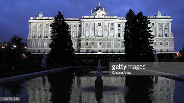 Night View of the Royal Palace from the Gardens of Sabatini, Madrid, Spain, january 2010.