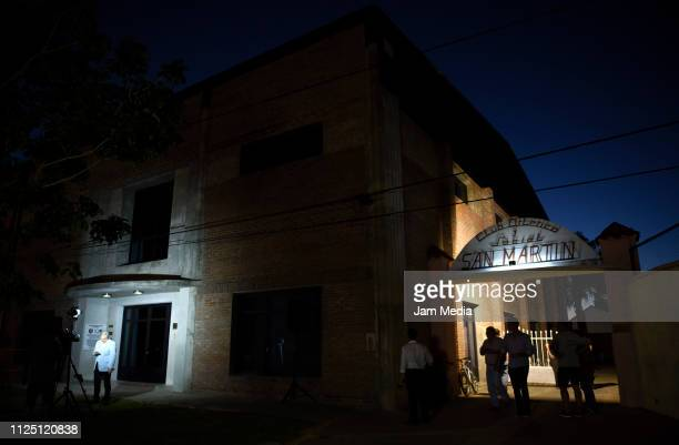 Night view of the San Martin Club conditioned for Emiliano Sala's funeral on February 15 2019 in Progreso Argentina 28yearold striker was killed when...