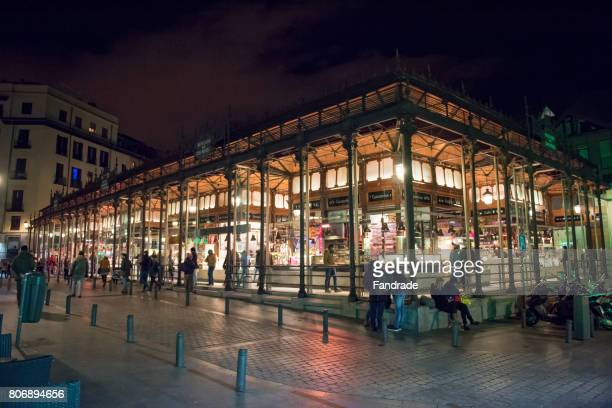Night view of the San Miguel Market in Madrid, Spain.