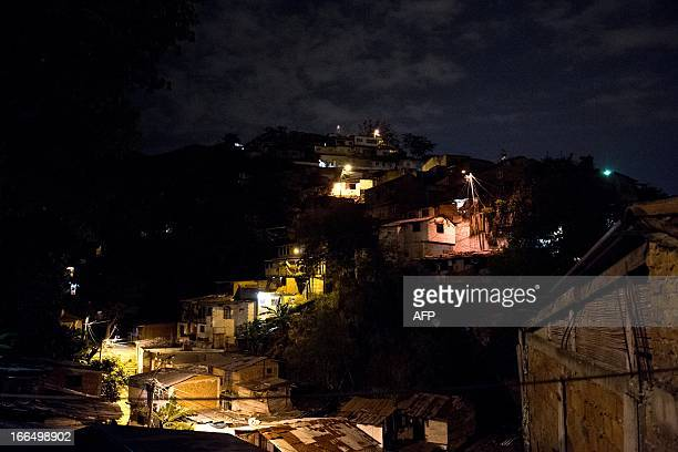 Night view of the Siloe neighborhood on April 12 2013 in Cali Valle del Cauca department Colombia The National Police has ordered a special group to...