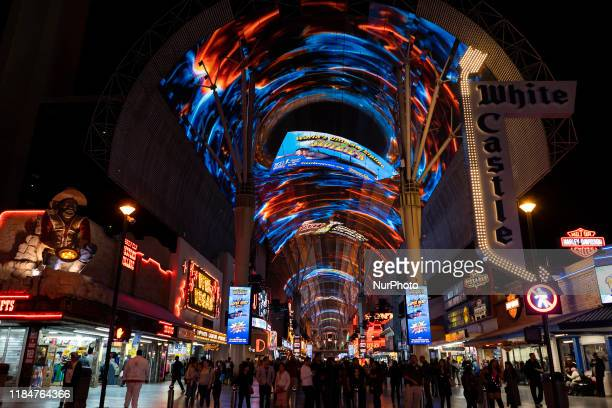 Night view of the so-called Fremont Street Experience, a five-block shopping area under a 127-meter vault with projections in Las Vegas, USA, on 11...