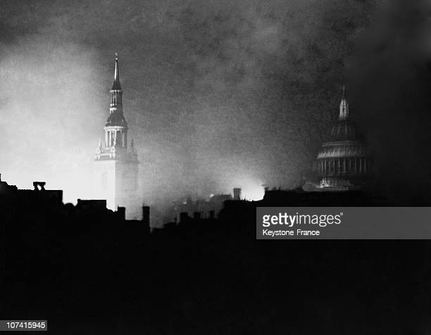 Night View Of The St Paul Cathedral And St Mary Le Bow Church After Bombing In London On 1940