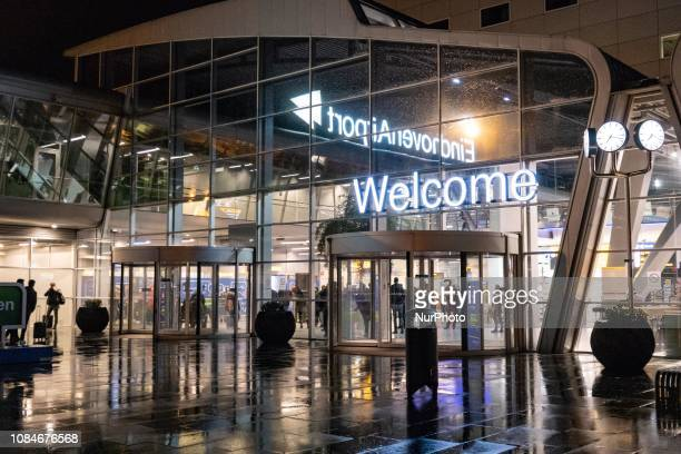 Night view of the Terminal the main hall and the hotel of Eindhoven Airport EHEH / EIN in the Netherlands Eindhoven is the second largest airport in...