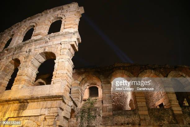 A night view of the Verona Arena is seen on Piazza Bra on January 5 2018 in Verona Italy