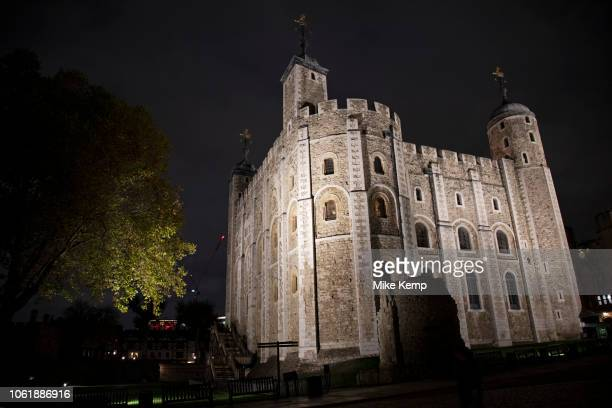 Night view of the White Tower at the Tower of London in London United Kingdom The White Tower is a central tower the old keep at the Tower of London...