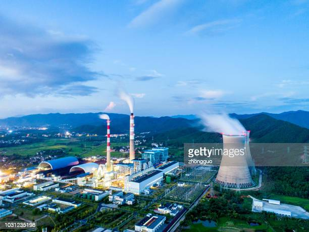 night view of thermal power plant - hot spring stock pictures, royalty-free photos & images