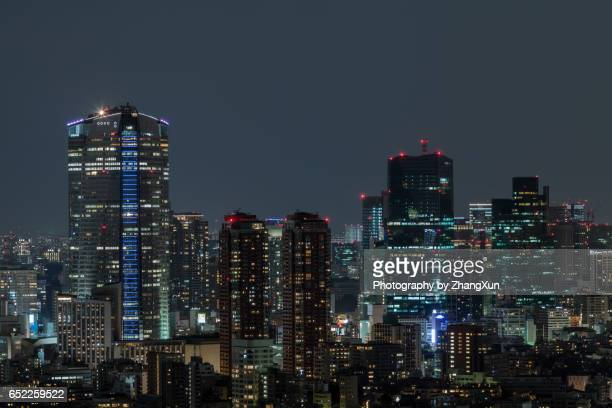 night view of tokyo cityscape from ebisu observatory. - roppongi hills stock pictures, royalty-free photos & images