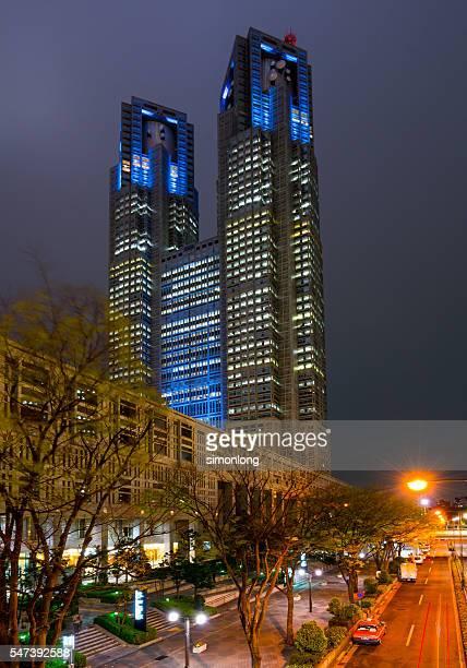 night view of tokyo metropolitan government building - 東京都庁舎 ストックフォトと画像
