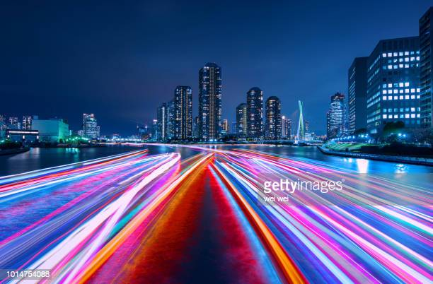 night view of tokyo - tokyo motion ストックフォトと画像