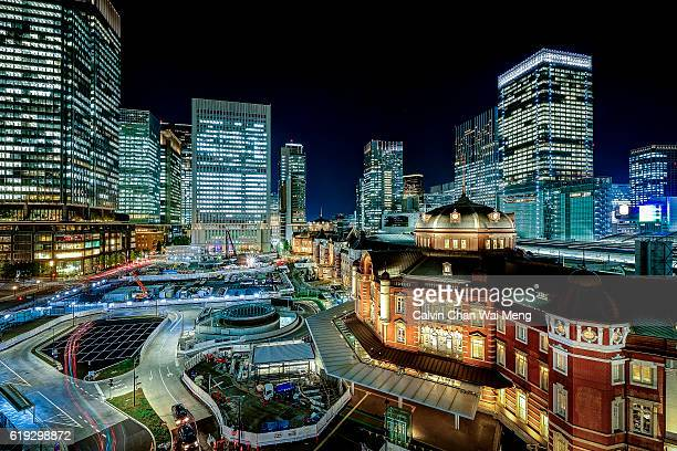 Night view of Tokyo station and commercial buildings