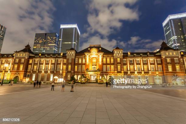 Night view of Tokyo station illuminated with blue sky, Chiyoda ward, Japan at summer.