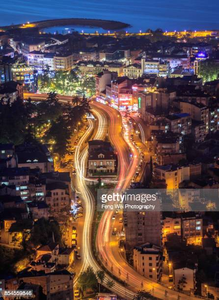 night view of trabzon, black sea region, turkey - trabzon stock photos and pictures
