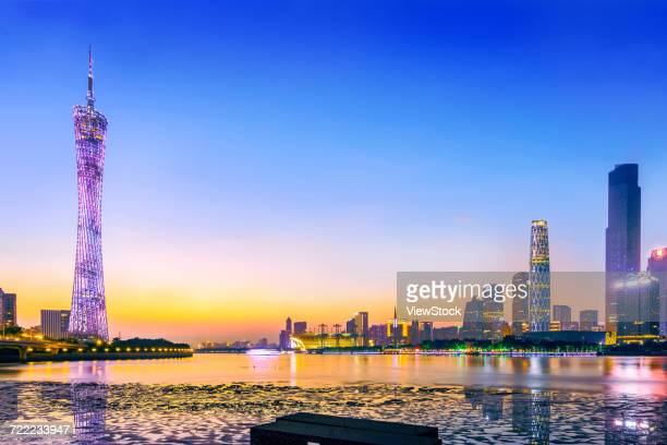 Night view of urban architecture in Guangzhou,Guangdong Province,China