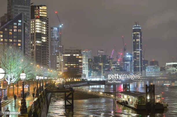 A night view of Vauxhall and the 'mini Manhattan' being planned for the Nine Elms area of Battersea On Wednesday 22 January 2019 in London United...