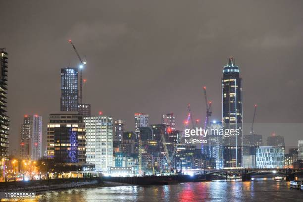 A night view of Vauxhall area of London and the 'mini Manhattan' being planned for the Nine Elms area of Battersea On Wednesday 22 January 2019 in...
