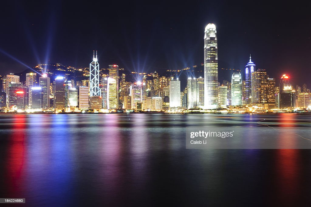 A night view of Victoria Harbour : Stock Photo
